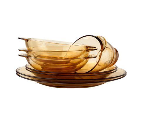 美国康宁加厚欧式琥珀茶色玻璃餐具套装 8件套