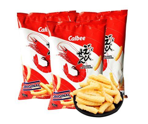 泰国进口卡乐比Calbee原味虾条(膨化食品)90g *3包装